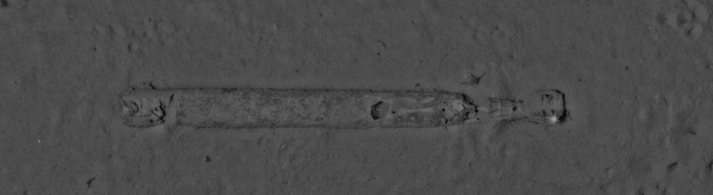 Stills image of underwater torpedo captured from AUV - payload for remote mine identification